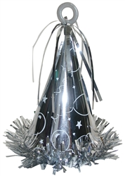Silver Fringed Foil Wrapped Balloon Weight | New Year's Eve Decorations