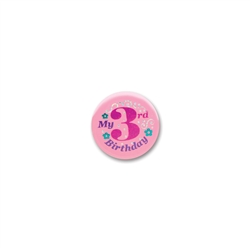 My 3rd Birthday Satin Button