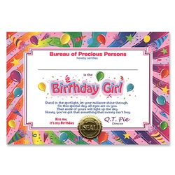 Birthday Girl Certificate Greeting