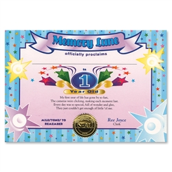 1 Year Old Boy Certificate Greeting