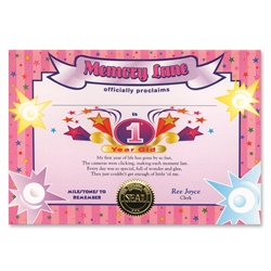 1 Year Old Girl Certificate Greeting
