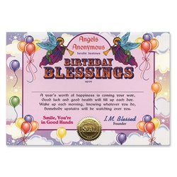 Birthday Blessings Certificate Greeting