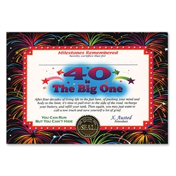 40 Is The Big One Certificate Greeting