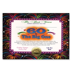 60 Is The Big One Certificate Greeting