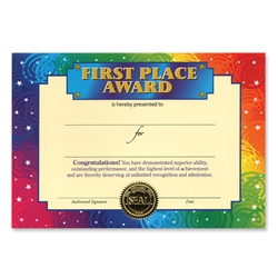 First Place Award Certificate Greeting