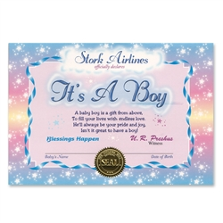 It's A Boy Certificate Greeting