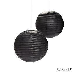 "12"" Black Paper Lanterns 