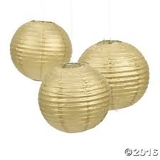 Gold Paper Lanterns | Party Supplies