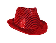 Red Sequin Fedora