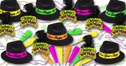 Brilliant Neon New Years Assortment for 50 People | Party Supplies