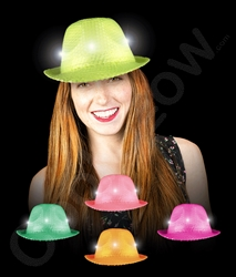 LED Sequin Neon Fedoras | Party Supplies