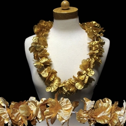 Gold Flower Silk Leis