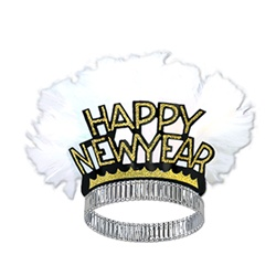 Black and Gold Happy New Year Bird of Paradise Tiaras