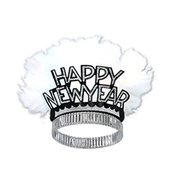 Black and Silver Happy New Year Bird of Paradise Tiaras