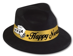 Black Fedora with Gold Band and Card Selection | New Year's Eve Party Favors
