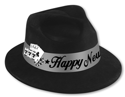 Black Fedora with Silver Band with Card Selection | New Year's Eve Party Favors