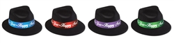 Black Velour Fedora Hat with Assorted Color Bands | New Year's Party Favors