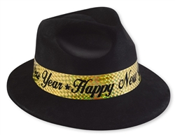 Black Fedora with Gold Band | New Year's Eve Party Favors