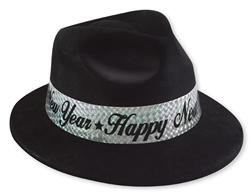 Black Fedora with Silver Band | New Year's Eve Party Favors