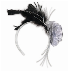 Black Feather, Silver Rose Tiara | New Year's Eve Party Favors