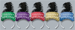 Black Plume Feather Assorted Color Tiaras | New Year's Eve Party Favors