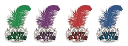 Assorted Colors Single Plume Feather Crown Tiara | Party Supplies