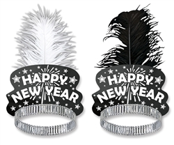 Black & White Single Plume Feather Tiara | Party Supplies
