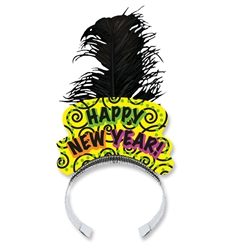 Brilliant Neon Tiara with Black Feather Plume | Party Supplies