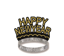 Happy New Year Black & Gold Crown Tiara | Party Supplies