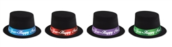 Black Velour Top Hat with Assorted Colored Bands