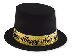 Black Top Hat with Gold Band | New Year's Eve Party Favors