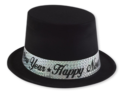 Black Top Hat with Silver Band | New Year's Eve Party Favors