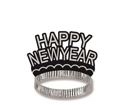 Happy New Year Black & Silver Crown Tiaraa | Party Supplies