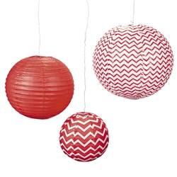 Red Chevron Lanterns | Party Supplies | Party Supplies