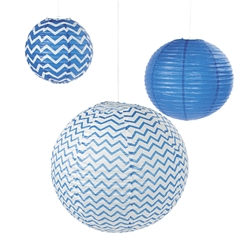 Blue Chevron Lanterns | Patriotic Lanterns