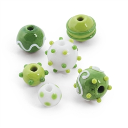 St. Pats Lampwork Round Beads | Party Supplies