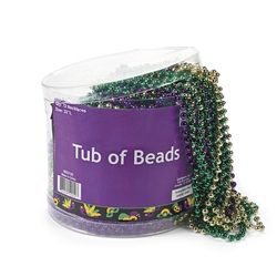 Tub of Mardi Gras Metallic Beads