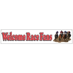 Welcome Race Fans Indoor/Outdoor Banner | Kentucky Derby Hanging Decorations