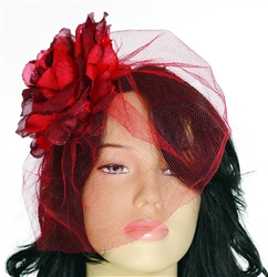 Royal Fascinator Red Flower With Veil Hair Clip | Kentucky Derby Apparel