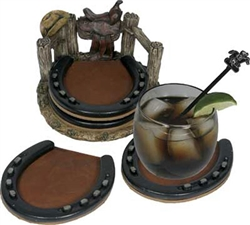 5 Piece Horseshoe Coaster Set | Kentucky Derby Party Supplies