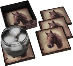 Horse Coaster Set with Holder | Kentucky Derby Party Tableware