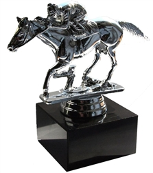 Racehorse and Jockey Trophy Silver Figure | Kentucky Derby Theme