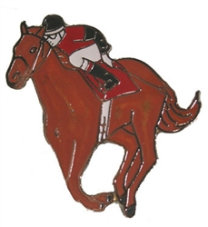 "1½"" Horse and Jockey Lapel Pin 