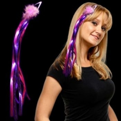 Pink/Purple LED Ribbon Hair Clip | New Year's Eve Party Favors