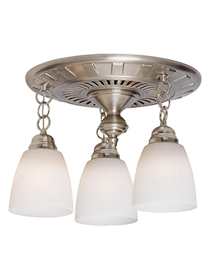 Garden District Light Bathroom Fan Brushed Nickel Patina - Brushed nickel bathroom ceiling light fixtures