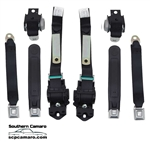 1974-81 Camaro Front & Rear Seat Belts - Black Set