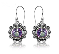 Sterling Silver Mystic Topaz Round Bali Earrings