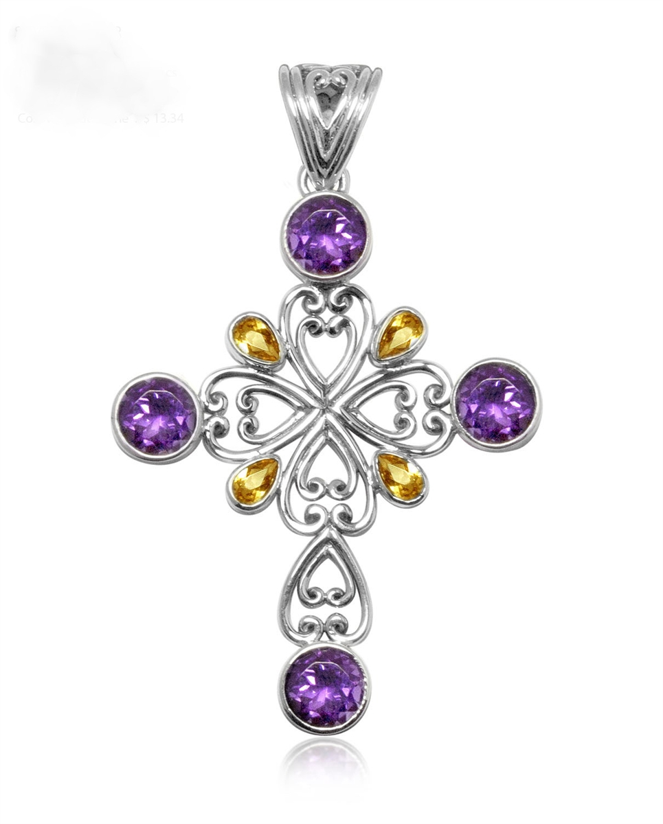 Silver sterling silver amethyst and citrine cross pendant sterling silver sterling silver amethyst and citrine cross pendant aloadofball Gallery