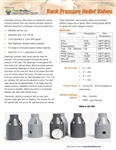 Back Pressure Relief Valves Product Bulletin