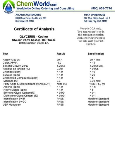 Glycerin Usp Kosher Coa Certificate Of Analysis Example